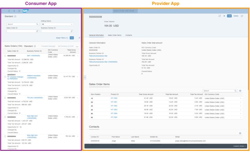 SAP Fiori Customer and Provider App