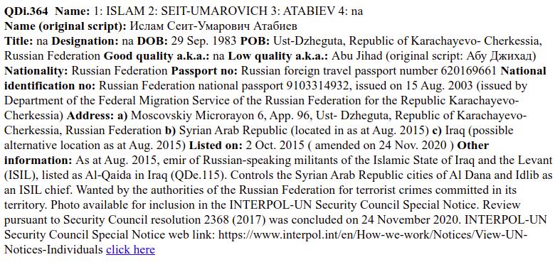 Russian UN Sanctions List